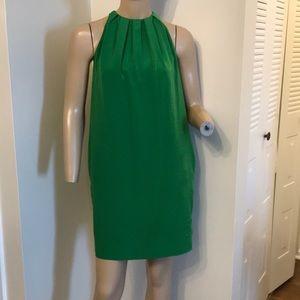 Zara Green Mini Dress Sleeveless Pleated Neck XS
